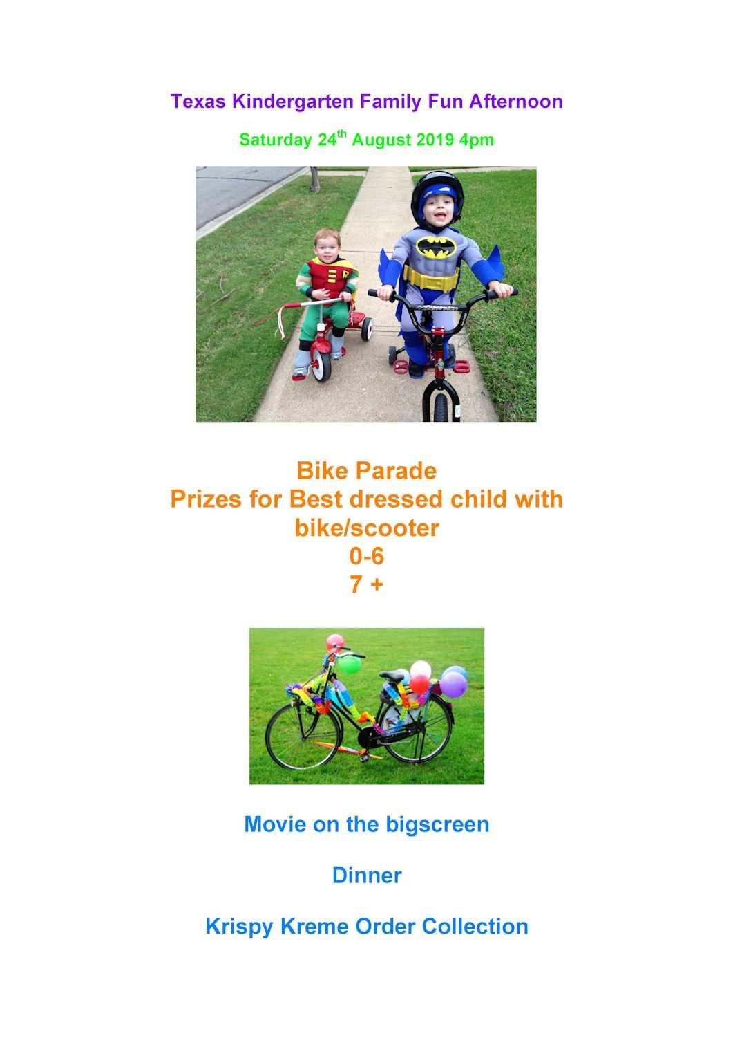 Texas Kindergarten Family Fun Day poster including bike parade and movie