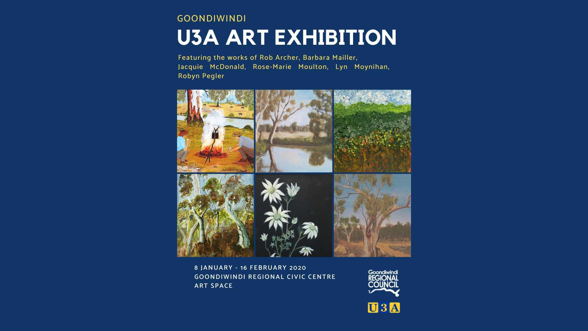 u3a art exhibition featuring the works of Rob Archer, Barbara Mailler, Jacquie McDonald, Rose-Marie Moulton, Lyn Moynihan and Robyn Pegler