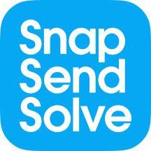 snap send solve logo blue background with white font