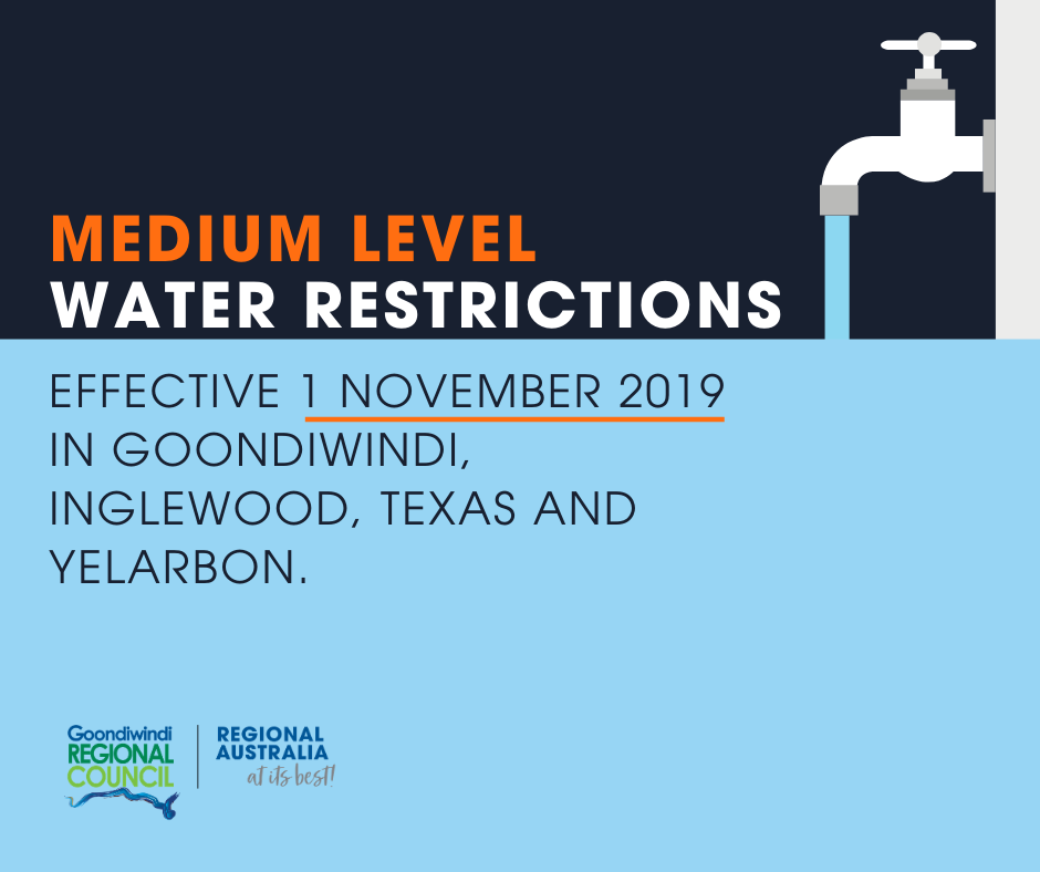 medium level water restrictions begin 1 november 2019