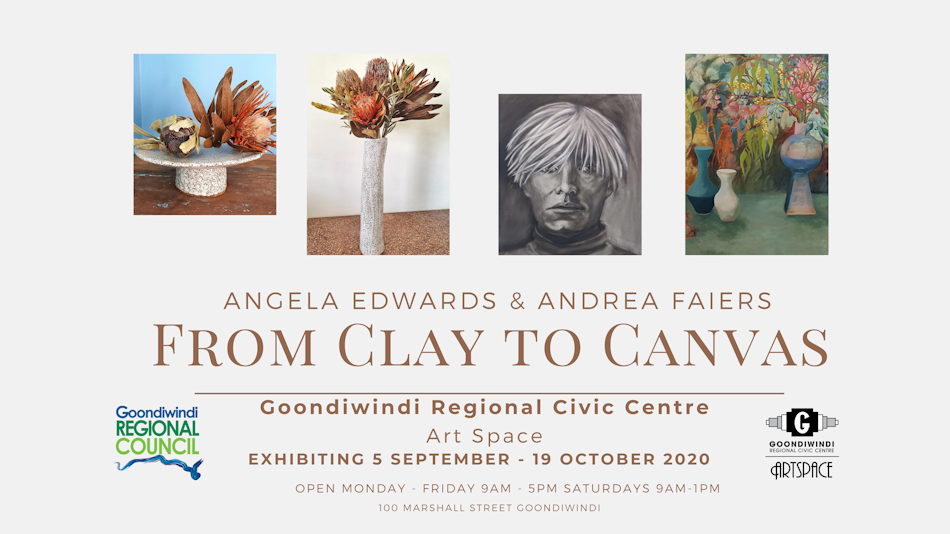 from clay to canvas exhibition flyer