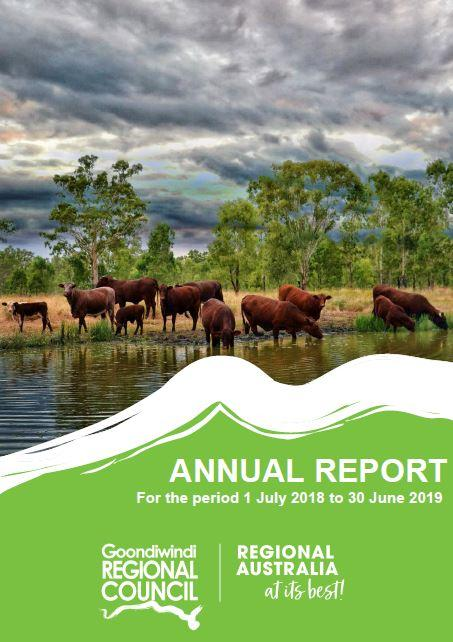 cover for the 2018-19 annual report green background with picture of cattle on a waterhole