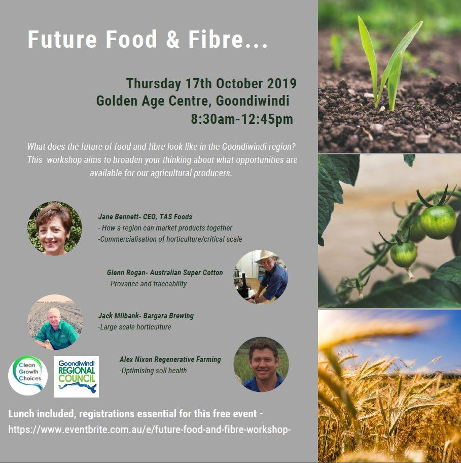 The Future Food and Fibre Workshop aims to broaden your thinking about opportunities available for our agricultural producers.