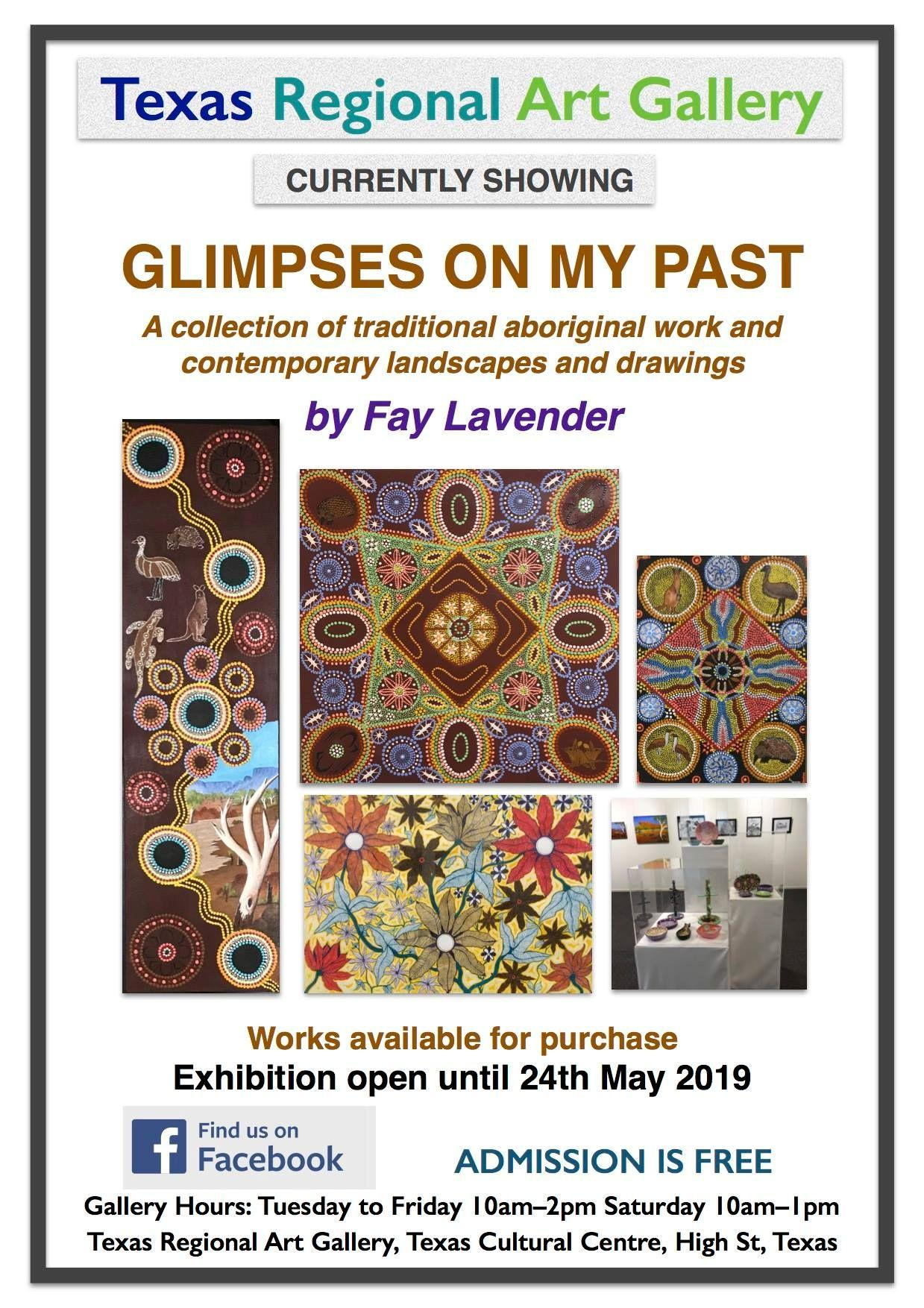 poster for glimpses on my past art exhibition by fay lavendar in texas regional art gallery