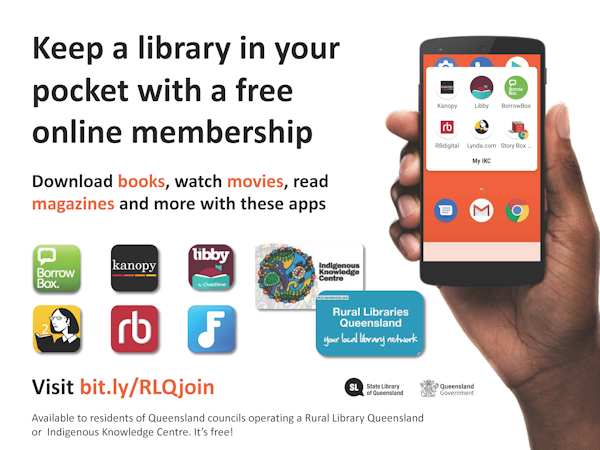 pocket library poster showing the apps that you can use to access the eresources from rural libraries
