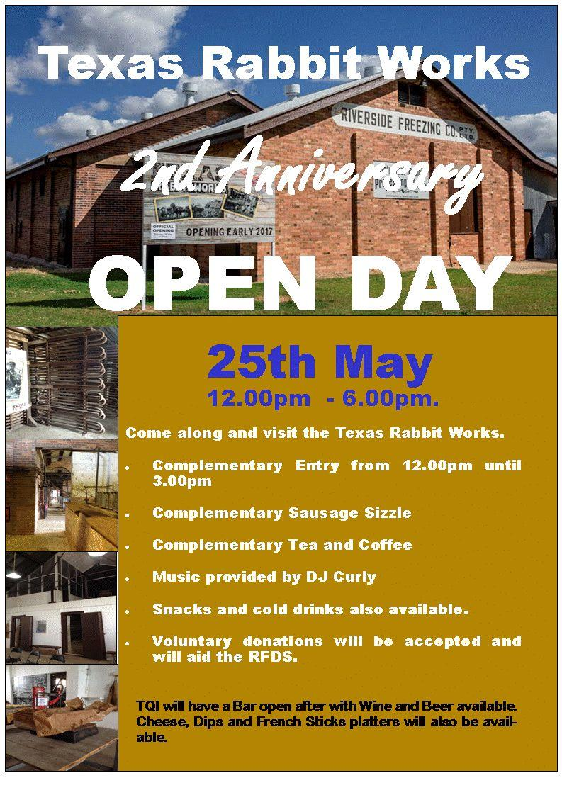 Texas rabbit works second anniversary open day hosted by texas qld inc