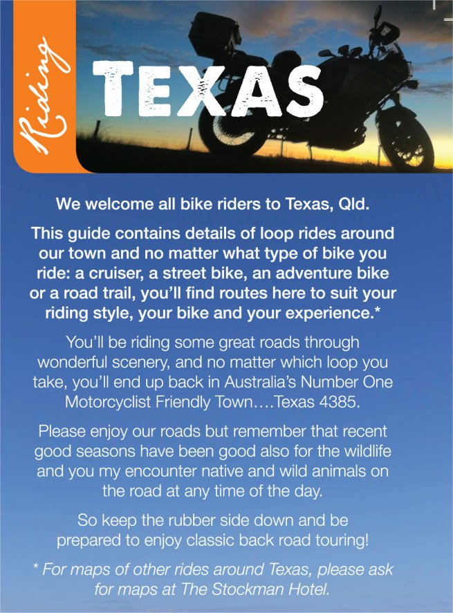 Map Of Texas Qld.Texas Motorcycle Routes Goondiwindi Regional Council